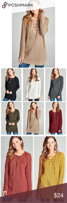 8 COLORS!  Taupe Laceup Tunic Sweater S M L Available in 8 colors !!! Taupe lace up tie tunic sweater, oversized, 55% Cotton 45% Acrylic Blend. Available in size small, medium or large.  Available in black, cream, charcoal gray, olive, burgundy, taupe, mustard, and rust.  No Trades, Price Firm unless Bundled.  BUNDLE 3 OR MORE ITEMS FOR 15 % OFF. Boutique Sweaters
