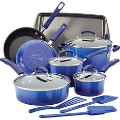 The Rachael Ray 14-pc. Cookware Set includes: 1-qt saucepan, 2-qt. saucepan, 6-qt covered stockpot, 8.5'' skillet, 10'' skillet, 3-qt. covered saute pan...