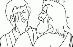 Matthew 20:29-34; Mark 10:46-52; Luke 18:35-43; Jesus Has Power Over Sickness; Jesus Heals Blind Bartimaeus Coloring Page