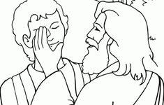 Matthew 20:29-34; Mark 10:46-52; Luke 18:35-43; Jesus Has Power Over Sickness; Jesus Heals Blind Bartimaeus Coloring Page