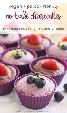 No-Bake Vegan Cheesecakes in 2 flavours: Chocolate Strawberry and Blueberry Lemon! | #valentinesday #chocolate #paleo #vegan #grainfree #aphrodisiac #maca #ad | Eat Spin Run Repeat
