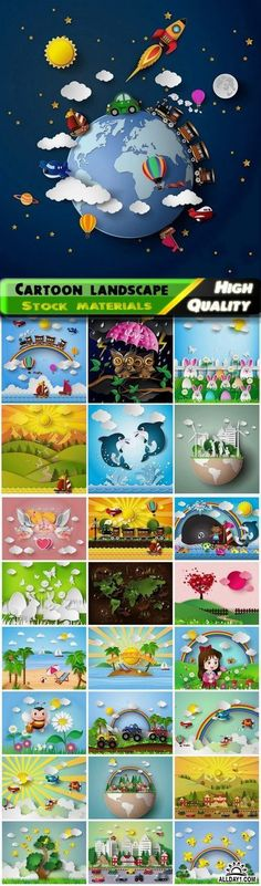Cute cartoon paper 3D nature landscape and scenery - 25 Eps