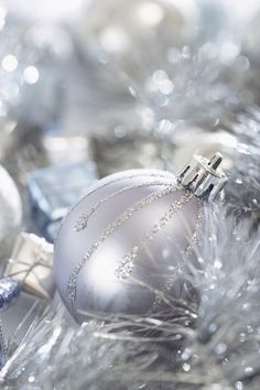 Silver Ornaments | blue and silver Christmas decorations