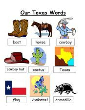 Free Texas printable mini-word wall via www.pre-kpages.com/texas/