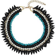 Topshop Blue Five Row Turquoise Collar
