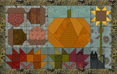 A quilt that includes everything for autumn! Acorns, pumpkin, sunflower, black cat, and fall colored leaves! Free for or Quilt Design Wizard! Halloween Sewing, Fall Sewing, Halloween Quilts, Halloween Ideas, Quilting Projects, Quilting Designs, Quilt Design, Quilting Ideas, Cute Quilts