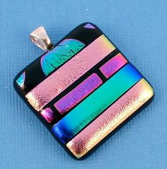 Pinky Swear - Dichroic Glass Pendant Necklace -