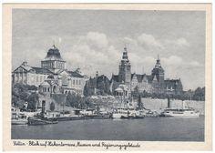 alte AK STETTIN SZCZECIN Blick auf Hakenterrasse Westpommern Hafen Dampfer