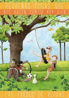 Cuaderno de viaje: Pequeñas cosas que nos hacen sentir muy bien 17. Mary Engelbreit, Art Wall Kids, Art For Kids, Cute Images, Pictures To Paint, Painting For Kids, Cute Illustration, Beautiful Paintings, Art Lessons