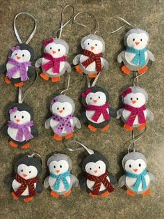 2017 Ornaments - sewn felt penguins with hot glued accessories and glitter glue decorations