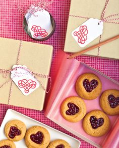 Peanut-Butter-and-Jam Heart Cookies | Martha Stewart Living - Enjoy the classic combination of peanut butter and jelly in a new way: The lunch-box pair gets made over into adorable cookies.