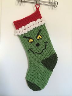 Your place to buy and sell all things handmade How the grinch stole Christmas holiday stocking Crochet Christmas Stocking Pattern, Crochet Stocking, Crochet Christmas Ornaments, Holiday Crochet, Christmas Patterns, Christmas Scarf, Grinch Stole Christmas, Christmas Stockings, Christmas Holiday