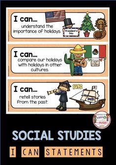 I can standards and statements for kindergarteners to use in social studies. Student Learning Objectives, Kindergarten Social Studies, Social Studies Activities, Kindergarten Lesson Plans, Homeschool Kindergarten, Teaching Social Studies, Kindergarten Goals, Teaching Us History, Teaching Geography