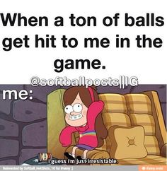 Gravity Falls and Volleyball! Two of my favorite things in one! Funny Softball Quotes, Volleyball Memes, Softball Problems, Soccer Memes, Funny Sports Memes, Softball Pictures, Softball Workouts, Baseball Quotes, Volleyball Gifts
