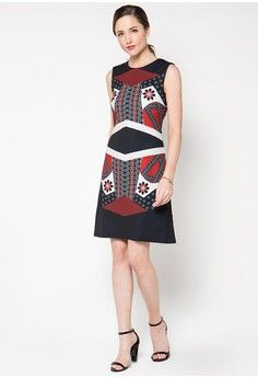 Patchwork Parang A-Line Dress from Bateeq in black_1