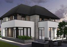 Villa W1 - interior | architecture | totaal concepten | interieur | tuinplan - Marco van Veldhuizen Modern Exterior House Designs, Home Interior Design, Holland, Custom Homes, Future House, New Homes, Villa, Mansions, House Styles