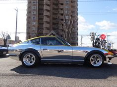 I've seen chrome helmets, chrome bikes, but never a chrome car. Datsun S30 / Z.