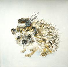 Fancy Hedgehog - original painting. Blair Blambert - Sold via Etsy.