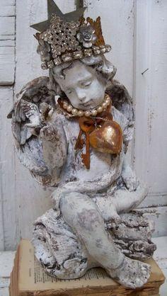 Angel cherub statue distressed shabby chic by AnitaSperoDesign, $270.00