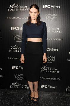 Rooney Mara in a crop top & pencil skirt