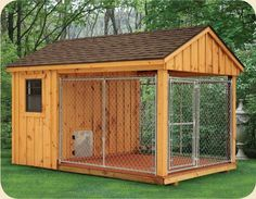 Wish all dogs were protected in a kennel like this if owner must leave them out for periods of time. 8 x 12 Dog Kennel. How To Build An Indoor Outdoor Dog Kennel Insulated Dog Kennels, Future House, My House, House Dog, Duck House, Dog House With Porch, Wooden Dog House, Build A Dog House, Niches