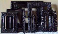Picture Frames Black Open Frames Wall Gallery Set by heartsncrafts. $99.00, via Etsy.