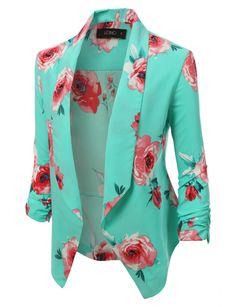 Open Front Floral Blazer Jacket
