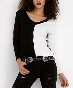 Look what I found on #zulily! Black & White Color Block V-Neck Top #zulilyfinds