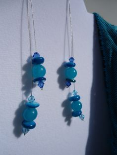 Teal Dangle: Teal Earrings, Dangle Earrings, Elegant Earrings, Blue Earrings, Aquamarine Earrings, Crystal Earrings, Mothers Day, Shell by ATouchOfT on Etsy
