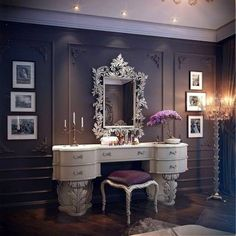 Victorian inspired dressing area. Dark, purple, antique white.
