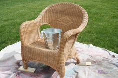 DIY: Spray Paint Wicker Chair (and also how to repair unraveling wicker)