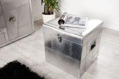 Design Truhe ALLOY Silber Alu 45cm Kiste Vontage Retro Matt