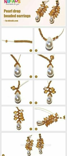 Seed bead jewelry Pearl Drop Beaded Earrings ~ Seed Bead Tutorials Discovred by : Linda Linebaugh Seed Bead Jewelry, Seed Bead Earrings, Beaded Earrings, Beaded Jewelry, Handmade Jewelry, Pearl Earrings, Jewellery Diy, Geek Jewelry, Gothic Jewelry