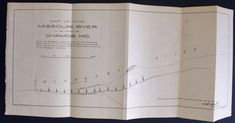 1904 Antique map of the Missouri River in the Vicinity of Chamois, MO Bank Lines after Flood. Antique Map, Vintage map