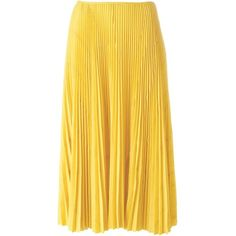 Cédric Charlier Pleated Midi Skirt (91.625 RUB) ❤ liked on Polyvore featuring skirts, midi skirt, yellow midi skirt, knee length pleated skirt, pleated skirt and mid calf skirts
