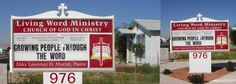 """""""Living Word Ministry"""" sign is a single face illuminated monument sign, sheet metal cabient . translousant HO lamps , lexan faces , vinyl overlay , changable letters."""