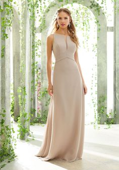 Morilee 21612 is a sleeveless Chiffon Bridesmaid Gown that has a Timeless Silhouette and Sexy Illusion V-Neckline. The sleek silhouette and open back with spaghetti straps complete this beautiful look. Mori Lee Bridesmaid Dresses, Lace Bridesmaid Dresses, Bridal Gowns, Wedding Gowns, Silvester Party, Bridal And Formal, Fort Smith, Illusion, Elegant Nails