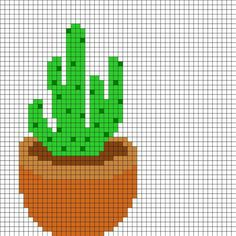 Potted Cactus by Airattackkid on Kandi Patterns Kandi Patterns, Perler Patterns, Beading Patterns, Modern Cross Stitch, Cross Stitch Charts, Cross Stitch Patterns, Cactus Cross Stitch, Cross Stitch Flowers, Diy Embroidery