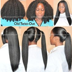 Amazing what naturaly textured hair can do without the use of harsh chemicals. Just carefully flat iron enjoy the straight style and when you've had enough, just wet it and let it bounce right back to its kinky, frizzy, curly, coily textured state.