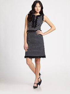 Tory Burch Evelyn Dress complete with Beverly Leather and Canvas Point Toe Bow Pumps, also from Tory Burch.