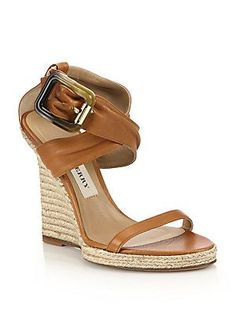 Burberry Catsbrook Leather Espadrille Wedge Sandals