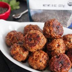 Chia Seed Meatballs with Spicy Ginger-Soy Glaze use Chicken/Turkey instead of Pork