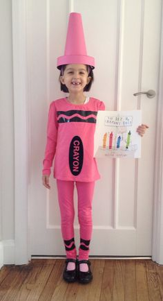 World Book Day pink crayon costume, group idea: The Crayon Box that quit, everyone a different color