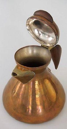 Elegant coffee or water kettle by Karl Hagenauer. 1940  Marked: WHW Logo, KARL, WEKSTÄTTEN HAGENAUER WIEN, MADE IN AUSTRIA