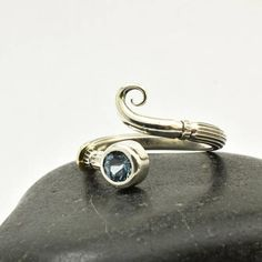Adjustable ring aquamarine silver and gold ring delicate