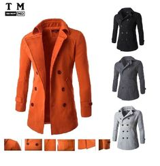 e01caf6f655f Men s Stylish Warm Winter Trench Coat Slim Casual Smart Jacket  9042