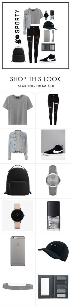 """go sporty"" by munira-delic ❤ liked on Polyvore featuring River Island, rag & bone, NIKE, MANGO, Burberry, CLUSE, NARS Cosmetics, Native Union, Boohoo and Borghese"