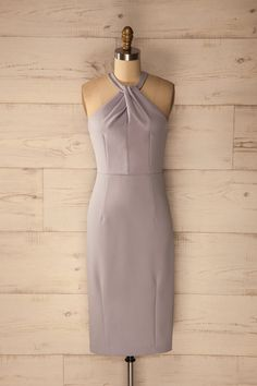 Nasida Fog - Lilac fitted cocktail dress