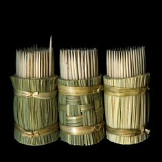 Japanese toothpicks in bamboo holders.