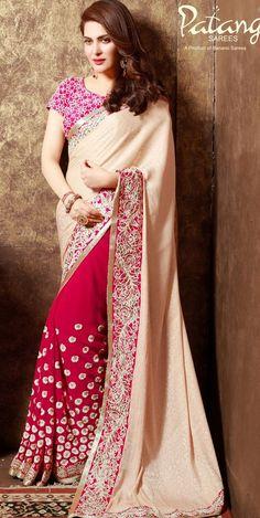 Wedding Indian Bollywood Style Georgette+Chiffon Saree/Sari Party Wear Festival
